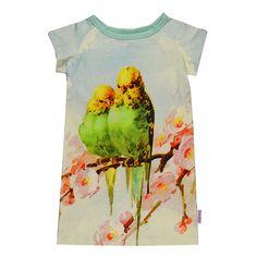 Raglan jurk Parrots. Biologisch katoen, eerlijk geproduceerd.