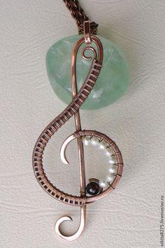 """Кулоны, подвески ручной работы. Ярмарка Мастеров - ручная работа. Купить Кулон """"Скрипичный ключ"""". Handmade. Wire wrap, wire"""
