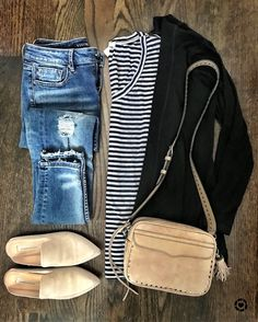 black cardigan and striped tee fall outfit