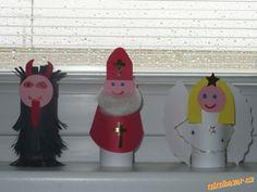 Mikuláš čert a anděl Diy For Kids, Crafts For Kids, Archetypes, Yule, Projects To Try, Santa, Activities, Christmas Ornaments, Halloween