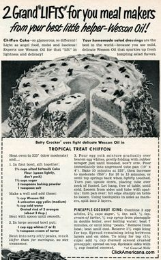 Tropical treat chiffon cake recipe Heat oven to 325 (slow moderate) and. In first bowl, sift together: cups sifted Softasilk Cake Flour (spoon Retro Recipes, Old Recipes, Vintage Recipes, Cake Recipes, Pineapple Cake, Pineapple Coconut, Vintage Baking, Vintage Food, Retro Food