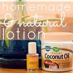 Daily Mom » Handmade & Natural Coconut Oil Lotion  1 cup of hardened coconut oil 1 tablespoon vitamin E oil 1-2 tablespoons aloe vera gel essential oils