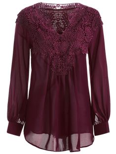 Long Sleeve Crochet Detail Blouse - WINE RED M