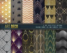 This is a listing for a set of Art Deco Digital paper and seamless patterns. Every graphic included in this set was designed and created using both
