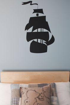 Pirate Room for kids with IKea bed and pillow, Brunelli bedding and Homeworks Etc Pirate Ship wall decal.  Simple classic design.  #Design #Decor #KidsRoom #WallArt #ChildrensRoom #TallShip #Pirate #WallDecal
