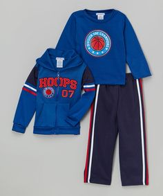 Another great find on #zulily! Royal 'Hoops' Fleece Hoodie Set - Infant & Toddler #zulilyfinds