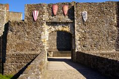 The King's Gate Barbican Drawbridge, Dover Castle, Kent, England, UK. The North…