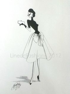 Fashion Illustration 1950s Black and White by LinearFashions, $40.00| Be inspirational  ❥|Mz. Manerz: Being well dressed is a beautiful form of confidence, happiness & politeness