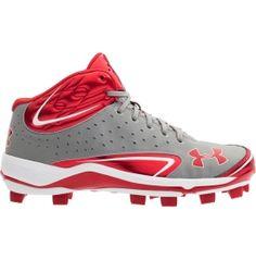 size 5.0 underarmour kids' yard III Mid TPU baseball cleats!!! RED!!!!!!!!!!!!!