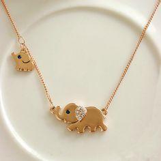 Fashion Cute Rhinestone Elephant Pendant Necklace