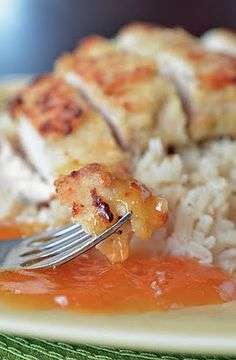 Coconut crusted chicken with orange dipping sauce