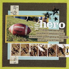 Football Scrapbook Pages: Mat Game Photos Filmstrip Style