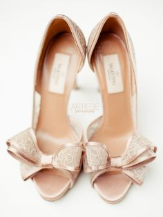 Cute bow tie heels for a bride! // by Valentino
