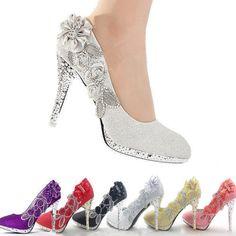 Stunning Glitter Bridal Shoes High Heel Crystal Evening Party Bridesmaid Wedding