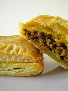 Curry Beef Puff Pastry Growing up, I remember the one or two parties my mom would host each year. I loved helping out in the kitchen: tearing bread to make bread crumbs, cutting fruit, rolling up...