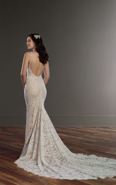 854 All Over Lace Wedding Dress with Low Back by Martina Liana