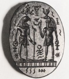 Talismans - Magical gem: Horus with snake-headed figure