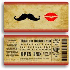 Einladung zur Hochzeit / Eintrittskarte Ticket von Fassbender-Druck auf DaWanda.com