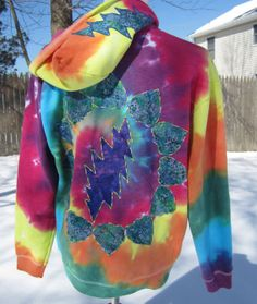GRATEFUL DEAD Inspired Tie Dye Hoodie  13 Bolt  by jodisunflower, $85.00