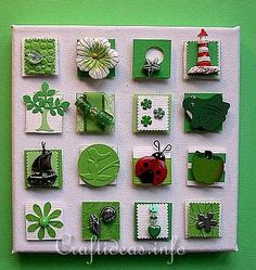 Summer Crafts - Summer Canvas Picture with Inchies - Green Summer Theme. Summer Crafts, Crafts For Kids, Arts And Crafts, Paper Crafts, Fabric Crafts, Inchies, Fabric Journals, Candy Cards, Pocket Letters