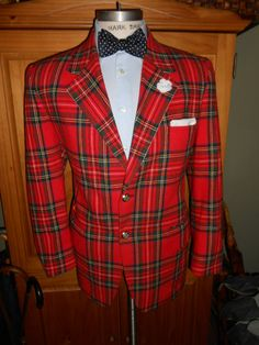Vintage 50s Dinner Jacket Red Plaid Tuxedo Tux Blazer Christmas Holiday  approx 44T