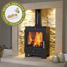 Wood Stove Wall, Wood Stove Hearth, Wood Burner Fireplace, Slate Hearth, Fireplace Ideas, Gas Stove Fireplace, Fireplace Remodel, Modern Wood Burning Stoves, Log Burning Stoves