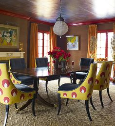 Kate Ridder dining room. Great pops of color. I want those chairs! Me too!