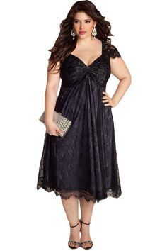 Glamorous Black Lace PlusSize Her Contemporary Cocktail Dress