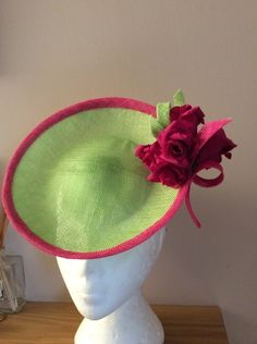 db7e16471bcfe Lime and hot pink saucer BY HELEN TILLEY  millinery  hats  HatAcademy Navy  Fascinator