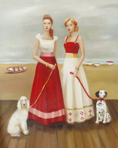 The Fontaine Sisters On The Boardwalk With Their Dogs 'Prim' and 'Proper'