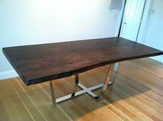 rustic dining table with metal base