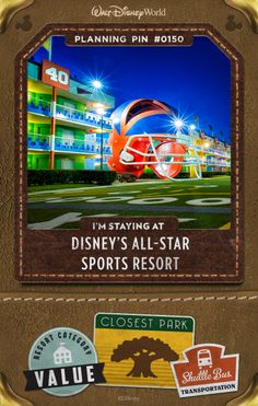 Walt Disney World Planning Pins: Get in the game at this Resort hotel that salutes the world of competitive sports, including baseball, basketball, football, surfing and tennis. Go the distance and don't be afraid to celebrate your inner fan amid sporty décor starring some of your favorite Disney characters.