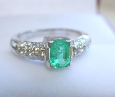 Stunning 18K White Gold Emerald Diamond Ring from amanra on Ruby Lane