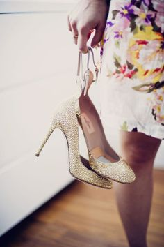 Gold Valentino Shoe Love! See more of the wedding on SMP right here: http://www.StyleMePretty.com/2014/05/20/nyc-rockstar-wedding/ KhakiBedfordPhoto.com