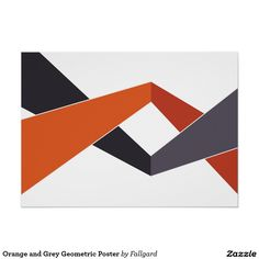 Orange and Grey Geometric Poster Modern Wall Paint, Geometric Wall Paint, Abstract Geometric Art, Geometric Poster, Wall Paint Patterns, Painting Patterns, 3d Wall Painting, Painting Wall Designs, Office Wall Paints
