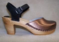 "Two Tone - Bronze & Black Nu Buc  - 3"" Wooden Swedish Clogs"