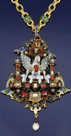 """A late 19th century Neo-Renaissance gold, diamond, gem and enamel pendant Modelled as the """"pelican in her piety"""" framed in a pillared niche set with square-cut diamonds and foiled rubies the openwork back plate of polychrome enamel scrolling decoration, the pelican and cygnets with painted enamel detail, beneath a scrolling surmount with diamond and foiled ruby detail between twin serpents suspending a single pearl drop, to a fancy link neckchain with green enamel decoration, circa 1890"""