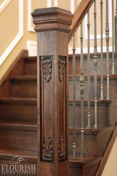 """Newel Post Collection: Flora & Fauna Style: Acanthus Dimensions: 5 ½"""" X 52"""" Manufactured in the wood species: Maple"""