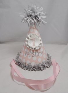1st Birthday Party Hat Girl Pink and Grey by CardsandMoorebyTerri, $13.50