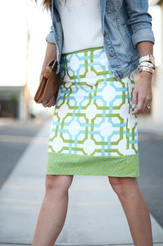 This #DIY skirt from @Merrick is so cute!  She used @Waverly fabric to #waverize this straight line skirt!