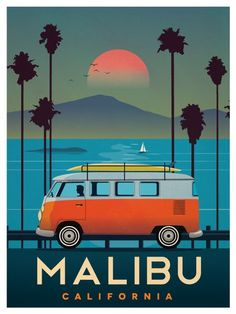 - Vacation Ideas - Vintage Malibu travel Poster - complete with a classic VW van and surf board on . Vintage Malibu travel Poster - complete with a classic VW van and surf board on top.