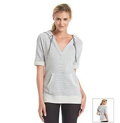 Marc New York Performance® Striped Sweatshirt Workout Session, Cuff Sleeves, Hooded Sweatshirts, Active Wear, Short Dresses, Chiffon, Tunic Tops, Sporty, Chic