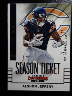 2014 Panini Contenders Season Ticket #6 Alshon Jeffery Chicago Bears Card  #ChicagoBears