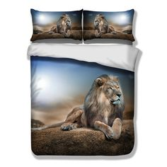 Lion Duvet Cover Pillow Case Bedding Set Twin Full Queen King Size Animal New Full Duvet Cover, Quilt Cover, Duvet Cover Sets, Pillow Covers, Snow Wolf, Lion, Baby Shower Party Supplies, Kids Party Decorations, Duvet Bedding