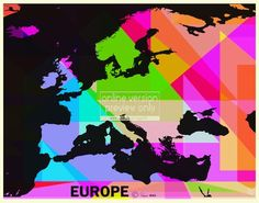 Europe in colour. Stunning poster print by England's popular art-creative, Robert Rusin, known to have sold his art to twenty countries worldwide since 2008.  www.mkfive.co.uk  www.zazzle.co.uk/ziggymk