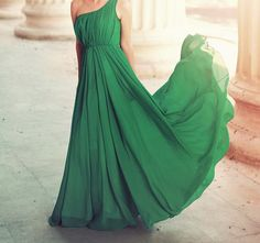 Green flowy and long dress