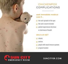 While the chickenpox vaccine has cut down the cases of this itchy illness, it is still a common condition. In most cases, itchiness is the worst thing people experience. However, like any medical illness, complications are still possible. If you fit any of the symptoms or risk factors below, make sure you seek immediate medical attention at Sun City Emergency Room!  www.suncityer.com | #ChickenPox  Sun City East: 915.206.5254 | Sun City West: 915.600.6894