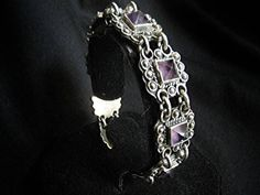 Unique Artisan Taxco Style Amethyst  Mexican Sterling Silver