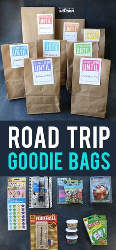 Count down a long car ride with road trip goodie bags! Let kids open one each hour to make the trip more fun. Click through for 30 things to put inside them. #itsalwaysautumn #roadtrip #roadtripgoodiebags #roadtriphack