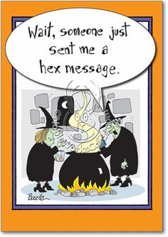 3112 Witch Hex Message Humor Halloween Paper Card . Halloween HumorHappy  HalloweenHalloween CartoonsHalloween ...